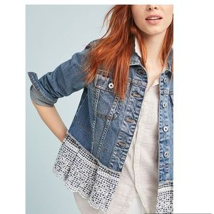 NWT Anthropologie Pilcro Eyelet Denim Jacket